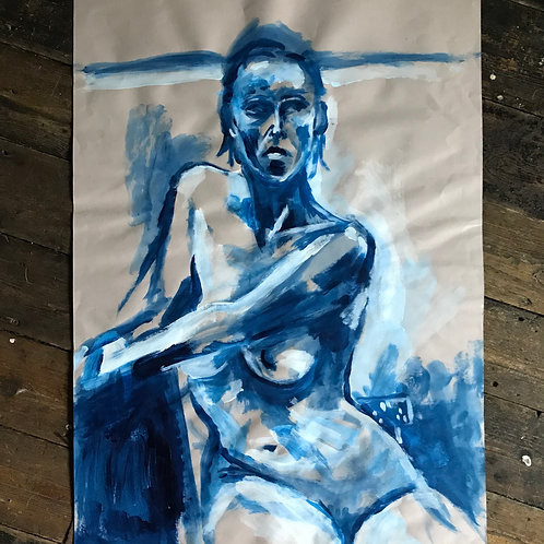 blue period female nude A1 acrylic on paper