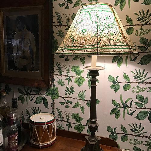 Green hand painted lamp shades