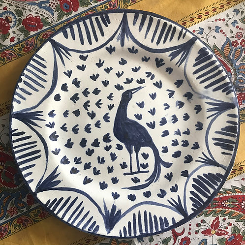 blue and white bird plate II