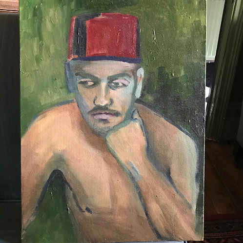Boy wearing a Fez, painted by me in Tangier