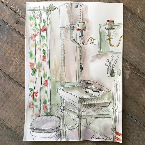 Bathroom water colour by Gavin Houghton