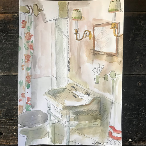 Water colour of a bathroom with chintz curtains