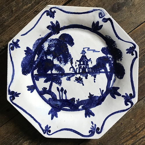Octagonal blue and white Chinese inspired plate made by me