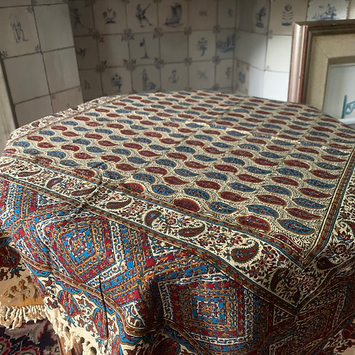 Block Print tasseled table cloth