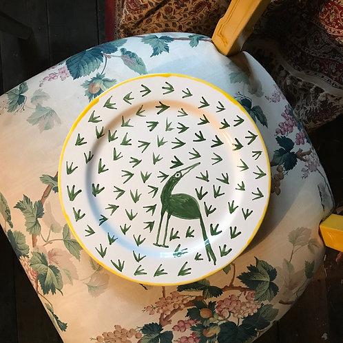 Green bird, foot print plate