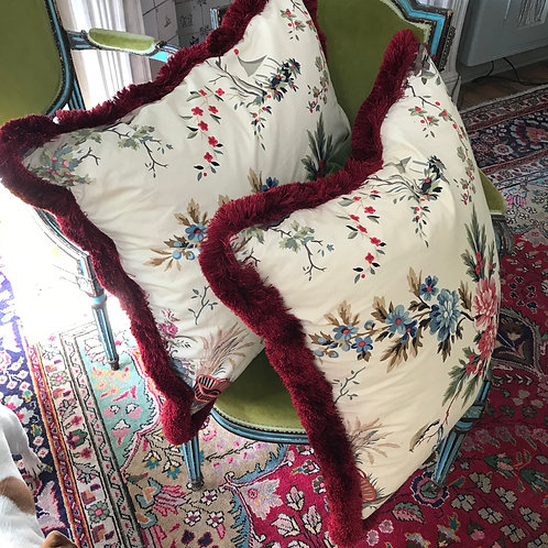 2 Red fringed floral print cushion with velvet back. SALE £70 each
