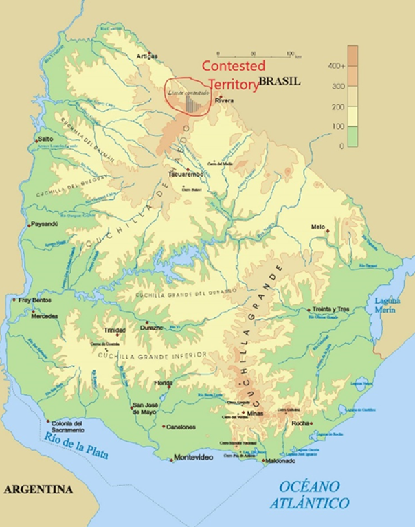 Map of Brazil/Uruguay Contested Territory