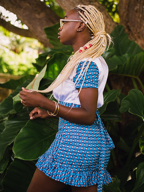 DEMI African Print Faux Wrap Skirt