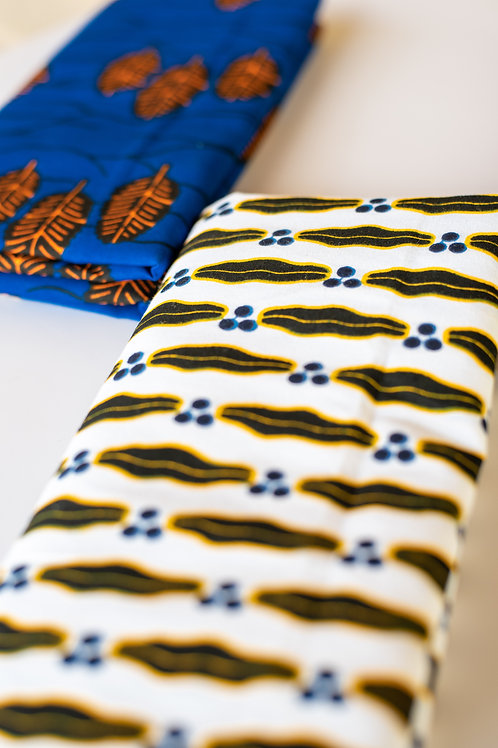 Lips (Blue, Black, Yellow and White Ankara Print)