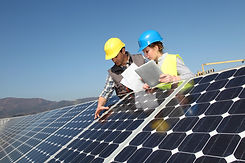 Man showing solar panels technology to s