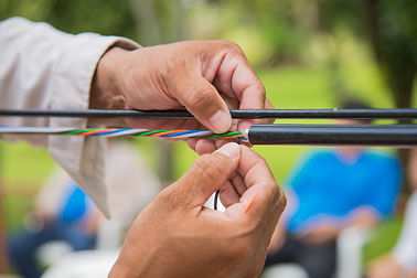 Technicians are installing optic fiber..