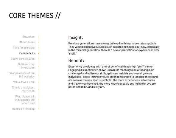 Core Theme: Experiences