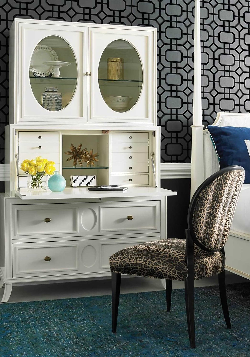 Transitional Office, Secretary Desk, Hideaway Desk, Transitional Storage Cabinet, Off-White Storage Cabinet
