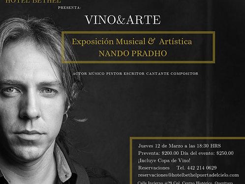 """Ticket Vino y Arte """"Presentación Musical y Exposición de Arte Nando Pradho"""""""