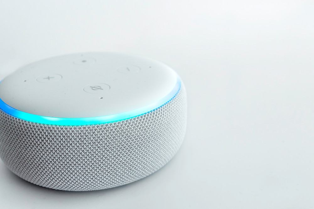 Amazon echo dot, voice controlled speaker with voice recognition