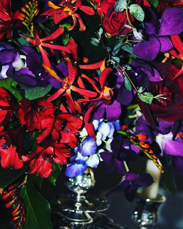 Rich color palate works any time of the year!! #love #red #purple #elegant #orchids #wedding #pretty