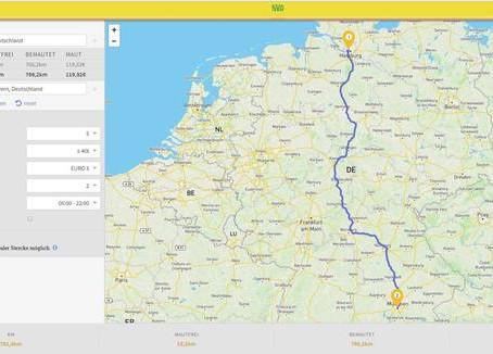 Bundesstraßenmautberechnung mit SVG-Mautex