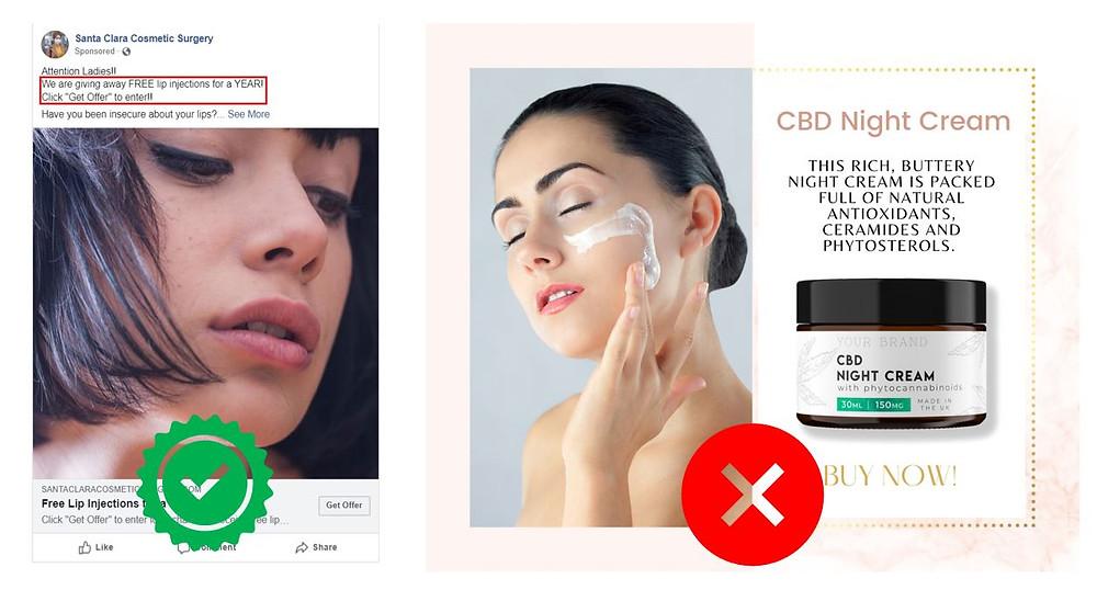 Plastic Surgery Vs CBD Night Cream Ads