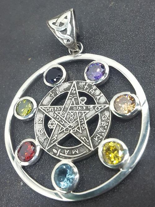 Medalla Tetragramaton con Piedras En Plata 4 Cm