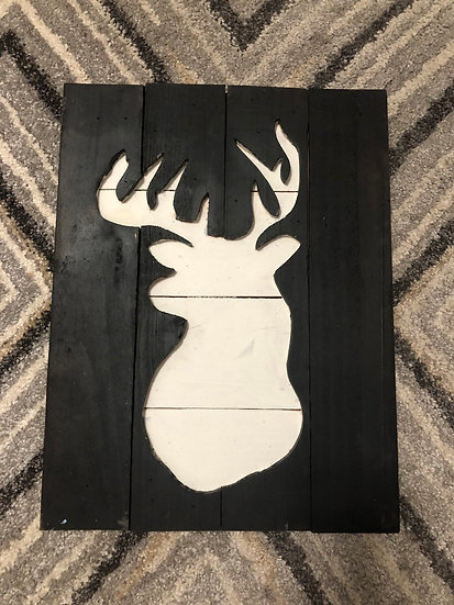 Black and white wooden double deer