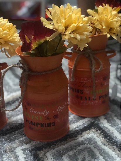 Orange tin fall decor