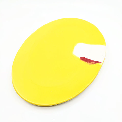 Bright Yellow Abstract Serving Dish