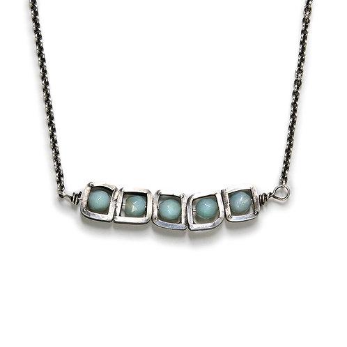 Stacked Necklace with Amazonite Gemstone Beads