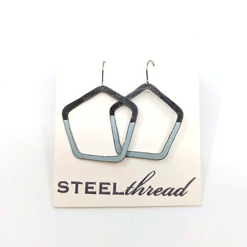 Steel and Blue Pentagon Shaped Earrings
