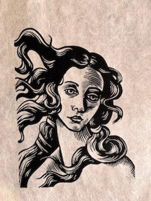 A Study in Botticelli 2, Linocut Print