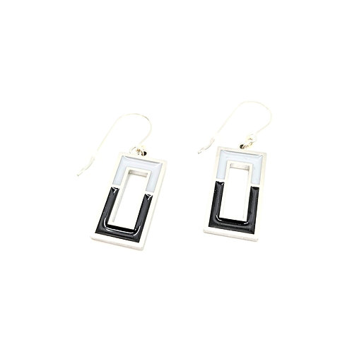 Black and Grey Window Earrings