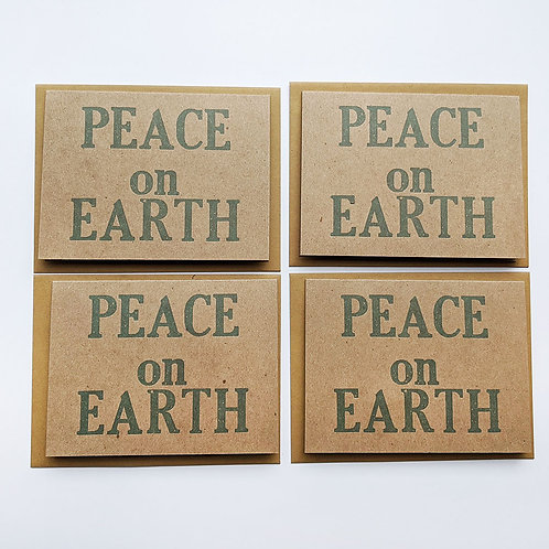 Pack of 4 Letterpress Printed Cards- Peace on Earth