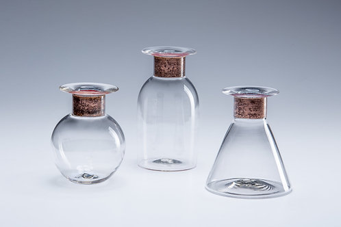 Clear Glass Vase with Copper Rim
