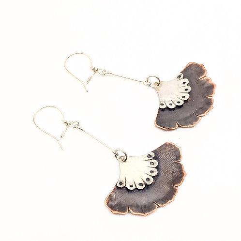 Silver and Copper, Long Dangle Earrings