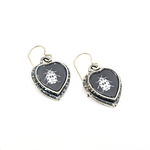 Heart Ladybug Earrings