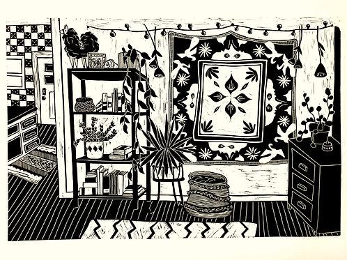 Temporary Living, Linocut Print