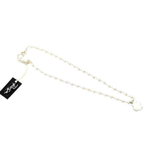 Hammered Cross Pearl Necklace