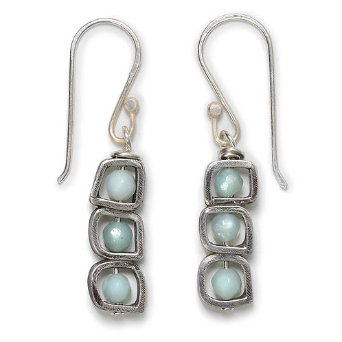Stack Earrings with Amazonite Gemstone Beads