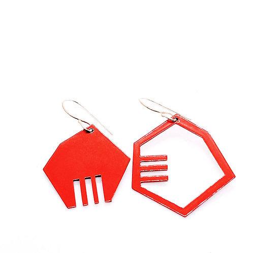 Red Plus/Minus Earrings
