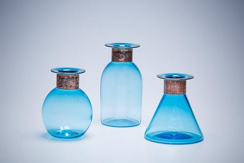 Blue Glass Vase with Copper Rim