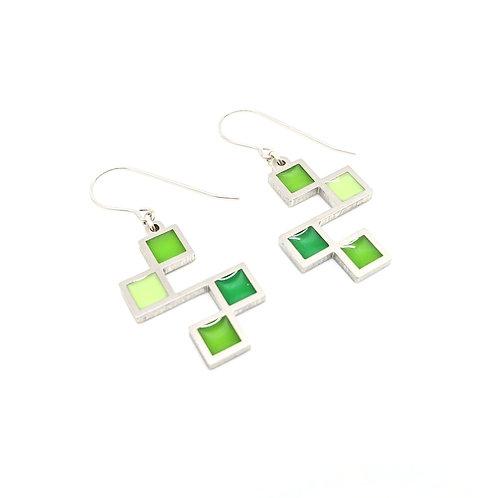 Green Cubic Earrings