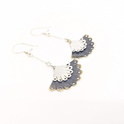 Silver and Brass Fan, Long Dangle Earrings