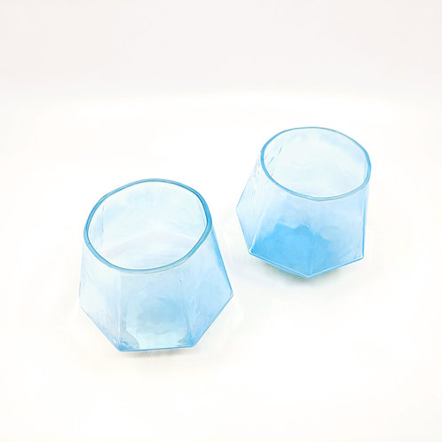 Aqua Marine 7 Sided Wine Glass