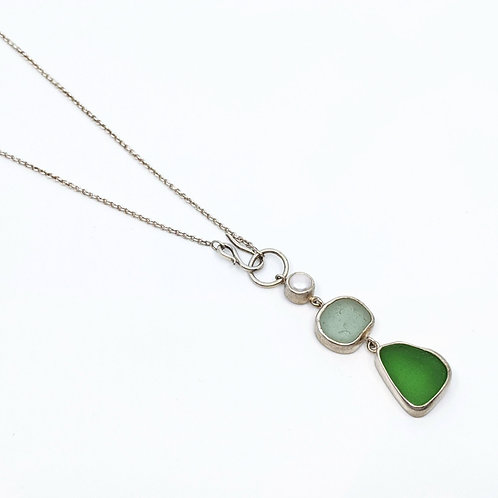 Seaglass and Pearl Necklace