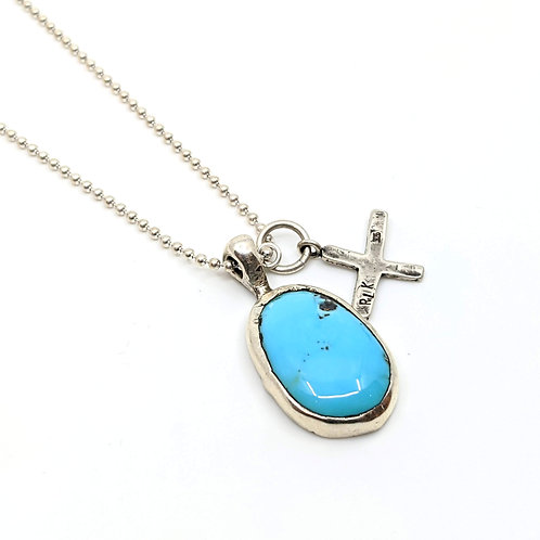 Turquoise and Medieval Cross Necklace