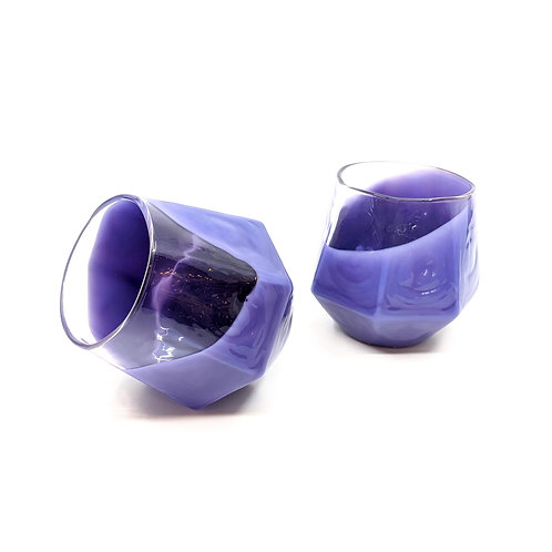 Violet 7 Sided Wine Glass