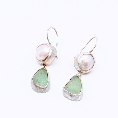 Seafoam Green Sea Glass/Pearl Earrings