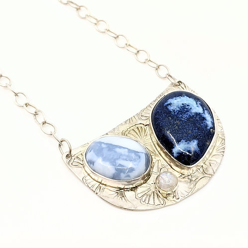Opal Necklace with Moonstone and Pottery