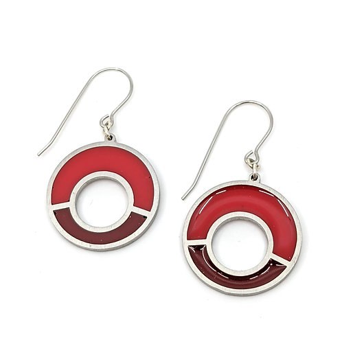 Red Offset Earrings