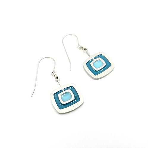 Blue Mod Square Earrings