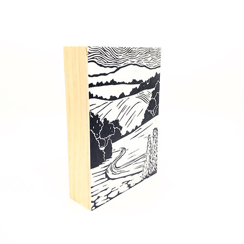 Winding Road Block Print on Wood Frame